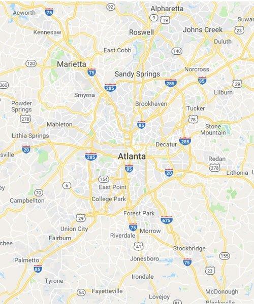 Map of Peachtree Corners, Georgia