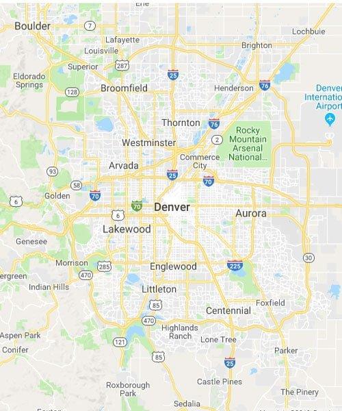 Map of Denver Colorado