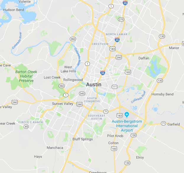 Map of Austin, Texas