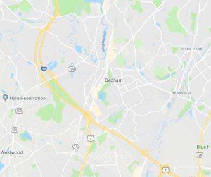 Map of Dedham, Massachusetts