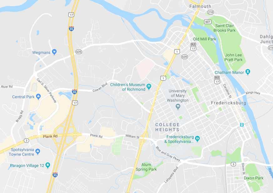 Map of Fredericksburg, Virginia