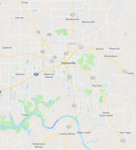 Map of Hunstville, Alabama