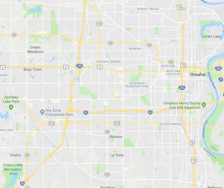 Map of Omaha, Nebraska