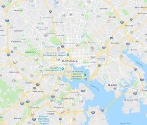 Map of Baltimore, Maryland