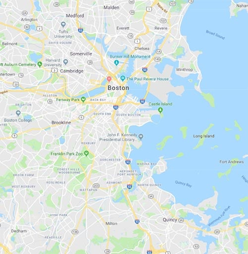 Map of Boston, Massachusetts