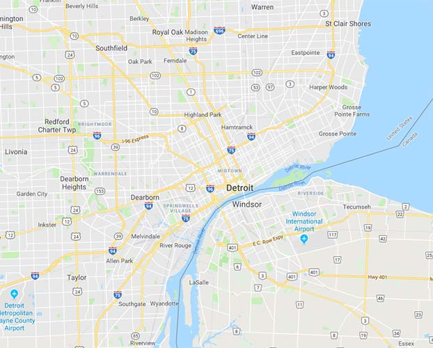 Map of Detroit, Michigan