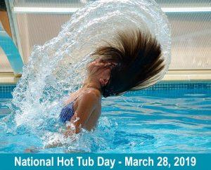 Woman flipping hair in pool
