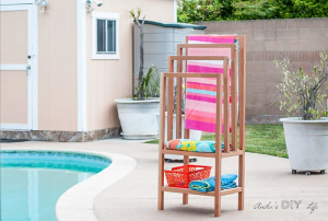 outdoor towel rack hot tub