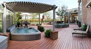 Hot tub pergola deck