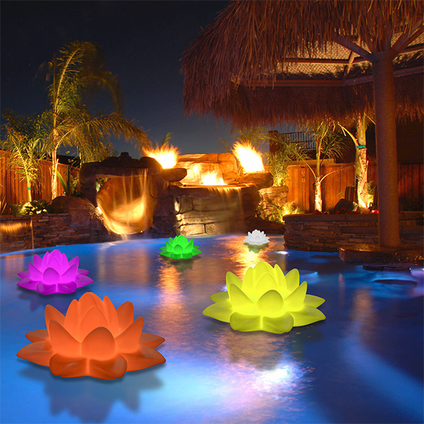 Floating lights in hot tub water