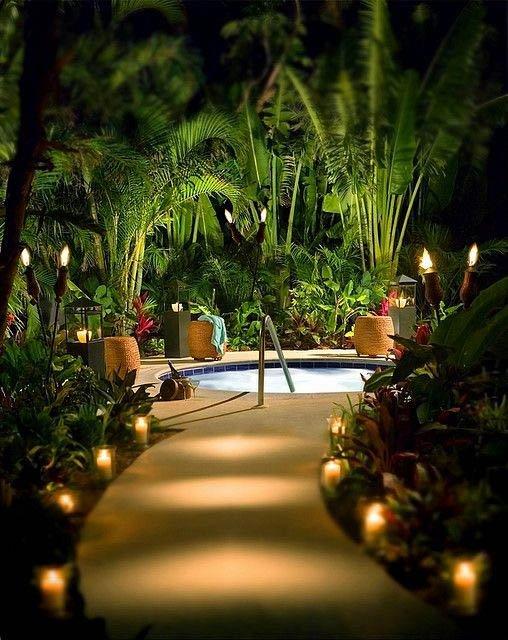 Hot tub illuminated path