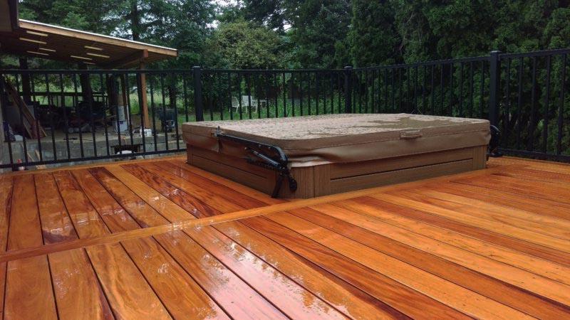 Hot tub embedded into deck