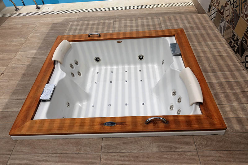 Drained hot tub