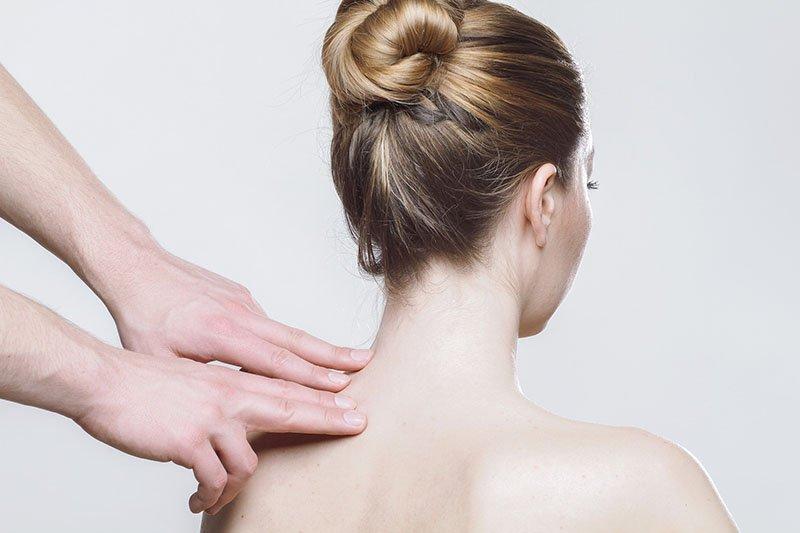 Woman getting human massage