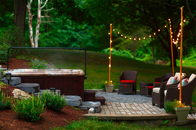 Outdoor hot tub lighting