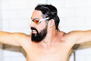 Swimmer preparing for laps